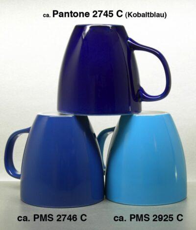 Porzellanbecher HARRY aussen verschiedene Blautöne