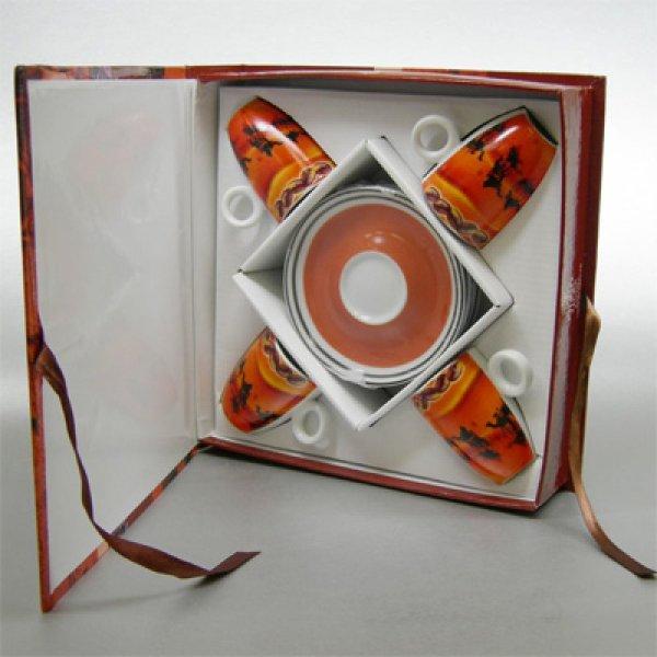 Fernosprojekt Espressotassen in Buchformverpackung Muster offen