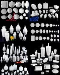 Tausend Porzellanformen als Basis für Projektarbeiten.