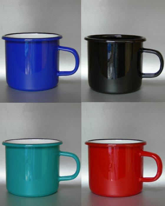 Emaillebecher per Hydrolack glänzend in verschiedenen Farben glasiert