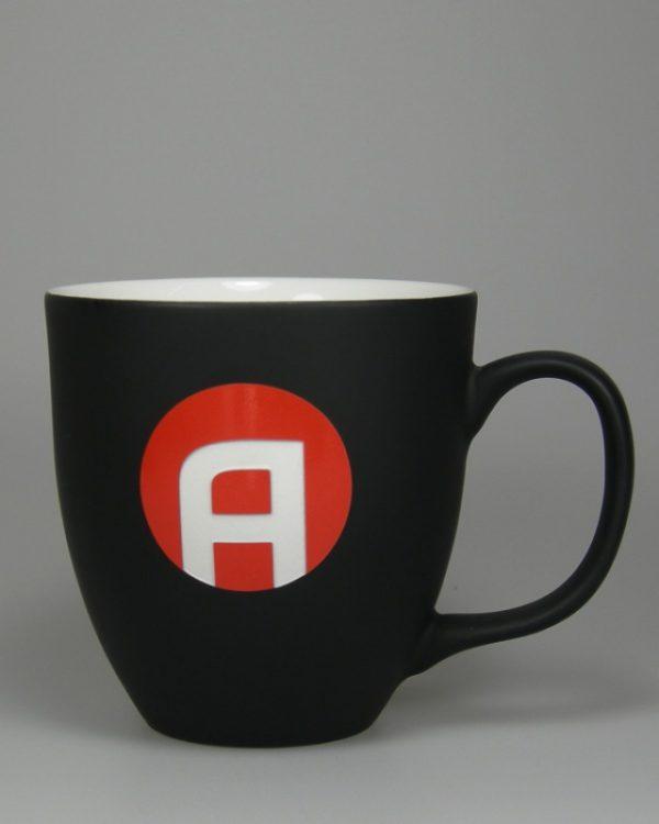 Hydrolack Schwarz matt Farbspritzung mit Logdruck und Logogravur