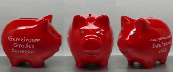 Sparkasse Sparschwein Farbspritzung Hydrolack mit Logdruck