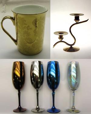 Beipiele Galvanotechnik Edelmetalle auf Porzellan Glas Eisen
