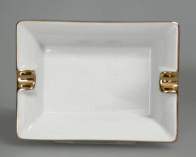 Zigarettenaschenbecher, Porzellanaschenbecher, Ascher rechteckig, Beispiel mit Handmallinie in Gold