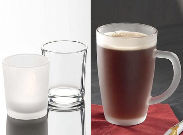 Teelicht Windlicht Teeglas mittels Hydrolack satiniert Frozeneffekt