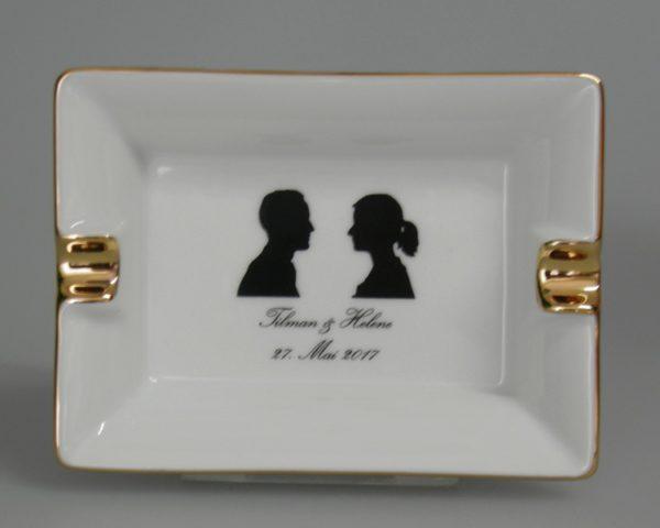 Kleinauflage Hochzeitsascher mit Goldlinie