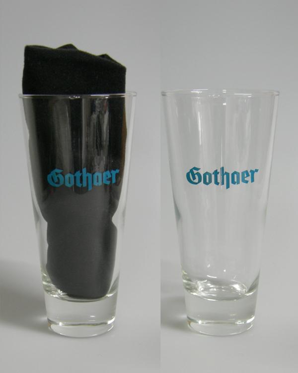 1farb Logo auf Glas im Tampondruck Direktdruck
