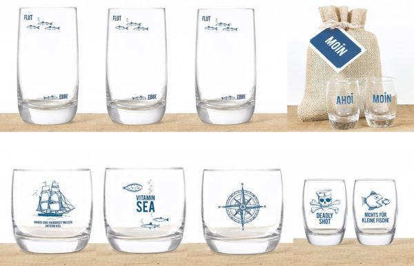 Logodruck auf Wasserglas Longdrinkglas Stamper