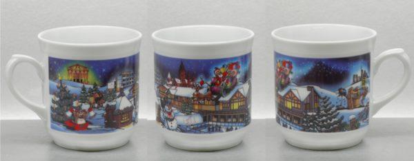 Weihnachtsmotiv im 4farb Rastersatz auf Porzellanbecher