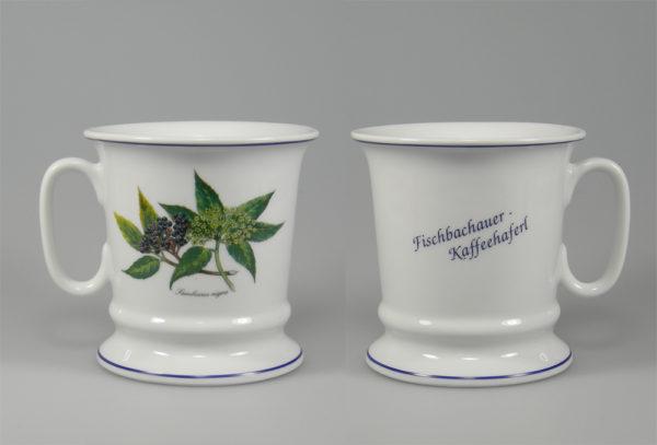 fertiges Hollermotiv als Fischbachauer Kaffeehaferl incl. Handmallinien