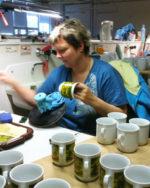 Arbeitsplatz Handdekoration drucken von keramischen Schiebebildern