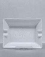 Reliefdruck Logo weiss auf weisses Porzellan Aschenbecher