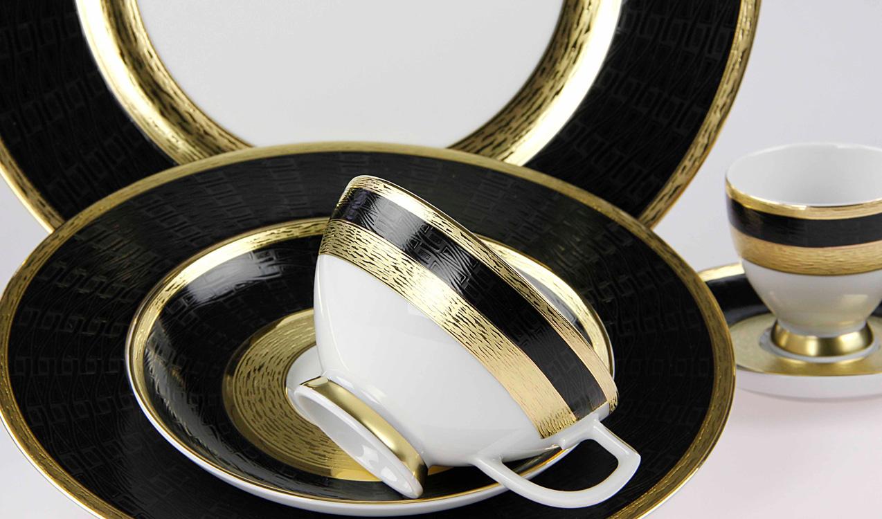 Edeltechnik für Echtgold mi Schwarz auf Porzellan