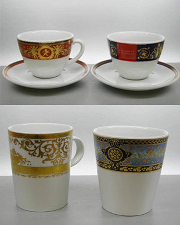 Edelmetall Beispiele Projektarbeiten auf Porzellan