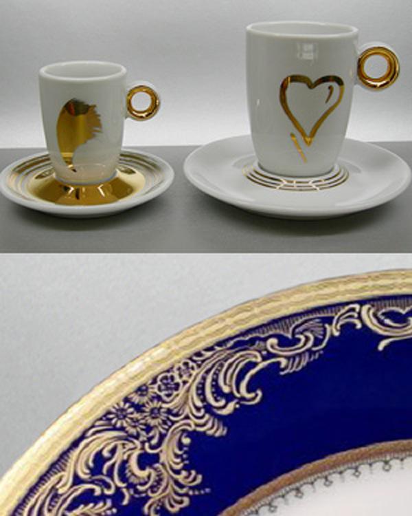 Porzellanservice Gold und Kobaltblau Dekor