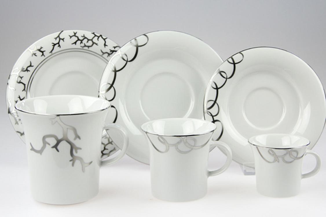 Platin Silber auf edles Porzellan eingebrannt