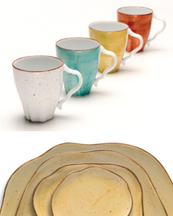 keramisch farbglasiertes Porzellan im Landhausstiel