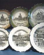 Beispiele Lüsterspritzungen Städteteller Souvenir Teller