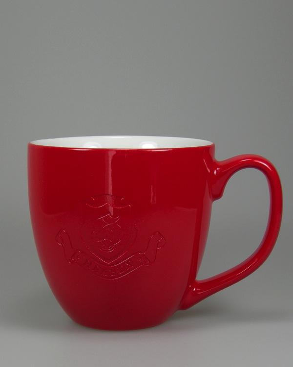 Logogravur danach mit Farbüberspritzung Rot Hydrolack