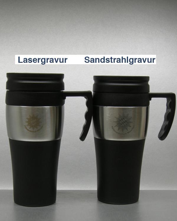 Vergleich Lasergravur zu Sandstrahlgravur Edelstahl