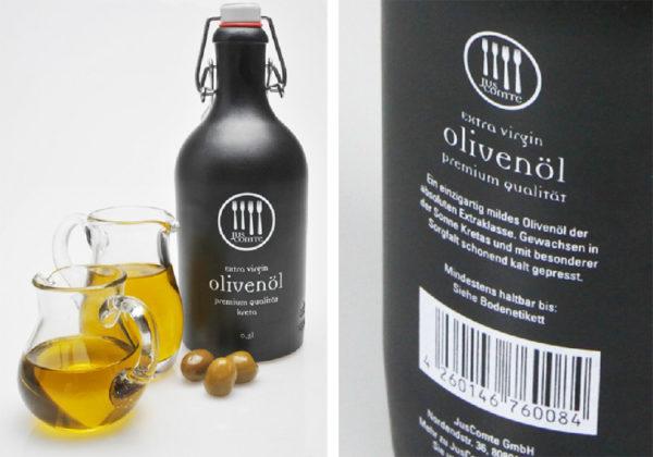 Projektarbeit weisses transparentes Etikett auf schwarze Flasche befüllt mit Olivenöl