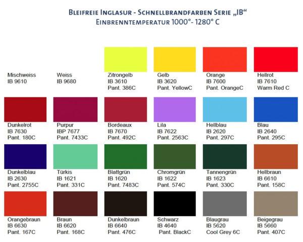 Inglasur Schnellbrand Bleifrei Farben