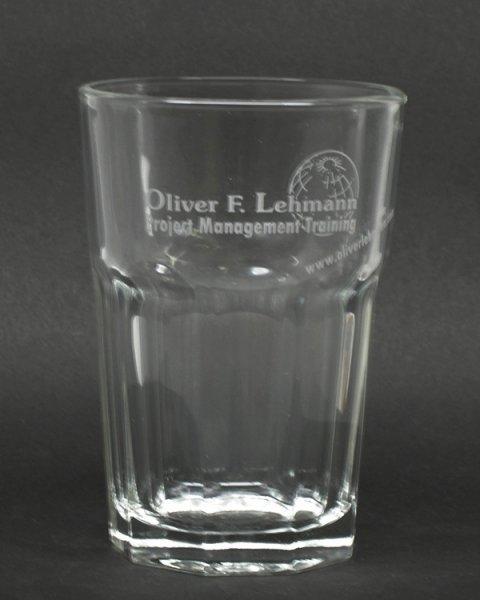 Ätuweissdruck, Sandstrahlgravur auf Longdrinkglas
