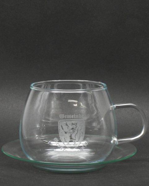Ätzweissdruck, Sandstrahlgravur auf Teeglas