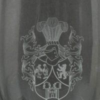 Ätzweissdruck, Gravur, Heraldik, Wappen, Detailansicht