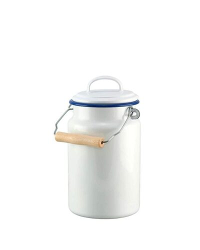Emaille Milchkanne 1 liter blauer Rand