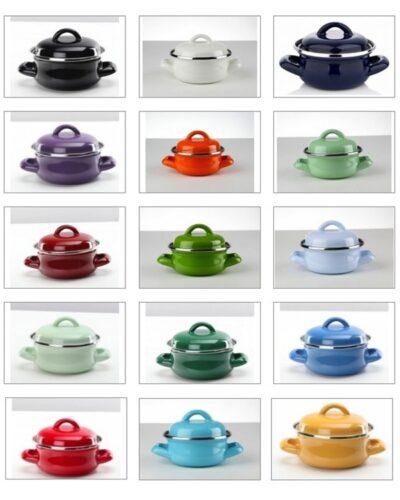 Emaille Minitöpfe in verschiedenen Farben