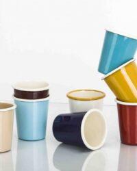 Emaillebecher, enamel mug, ohne Henkel, verschiedene Farben
