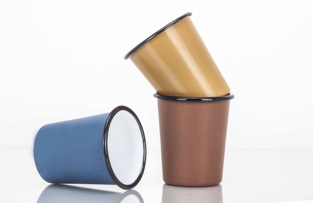 Emaillebecher, enamel mug, ohne Henkel, metalliceffekt