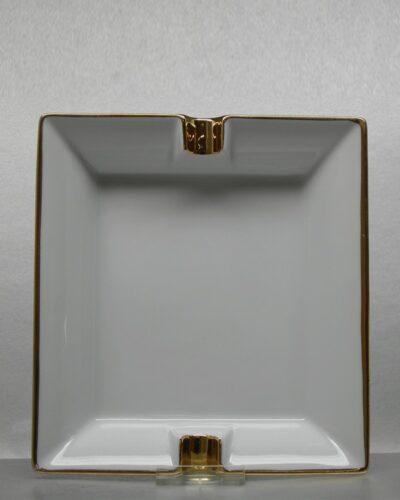 Zigarrenaschenbecher 18x18cm, Zigarrenascher, Porzellan, mit Golddlinie