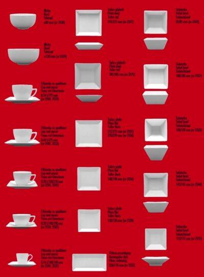 Porzellanserie Porzellan rechteckig und quadratisch
