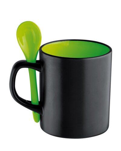 Becher 30cl mit Loeffel grün
