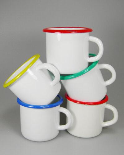 Emaillebecher - Emailletasse schwarzen Trinkrand farbig bedrucken