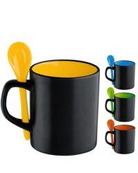 Keramikbecher 4 Innenfarben mit Farblöffel