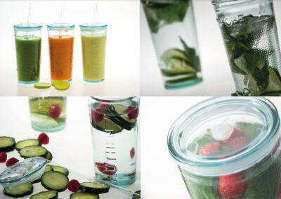 100% Recyclingglas mit Deckel to Go