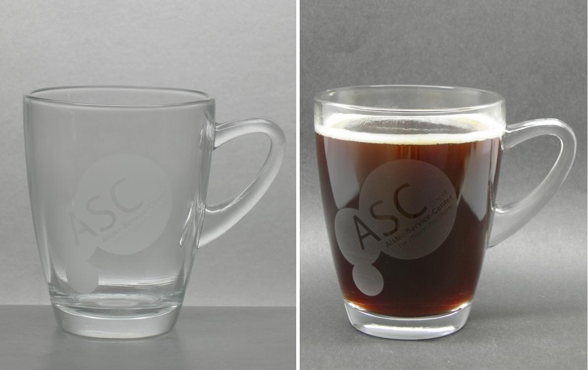 Aetzweissdruck auf Henkelglas