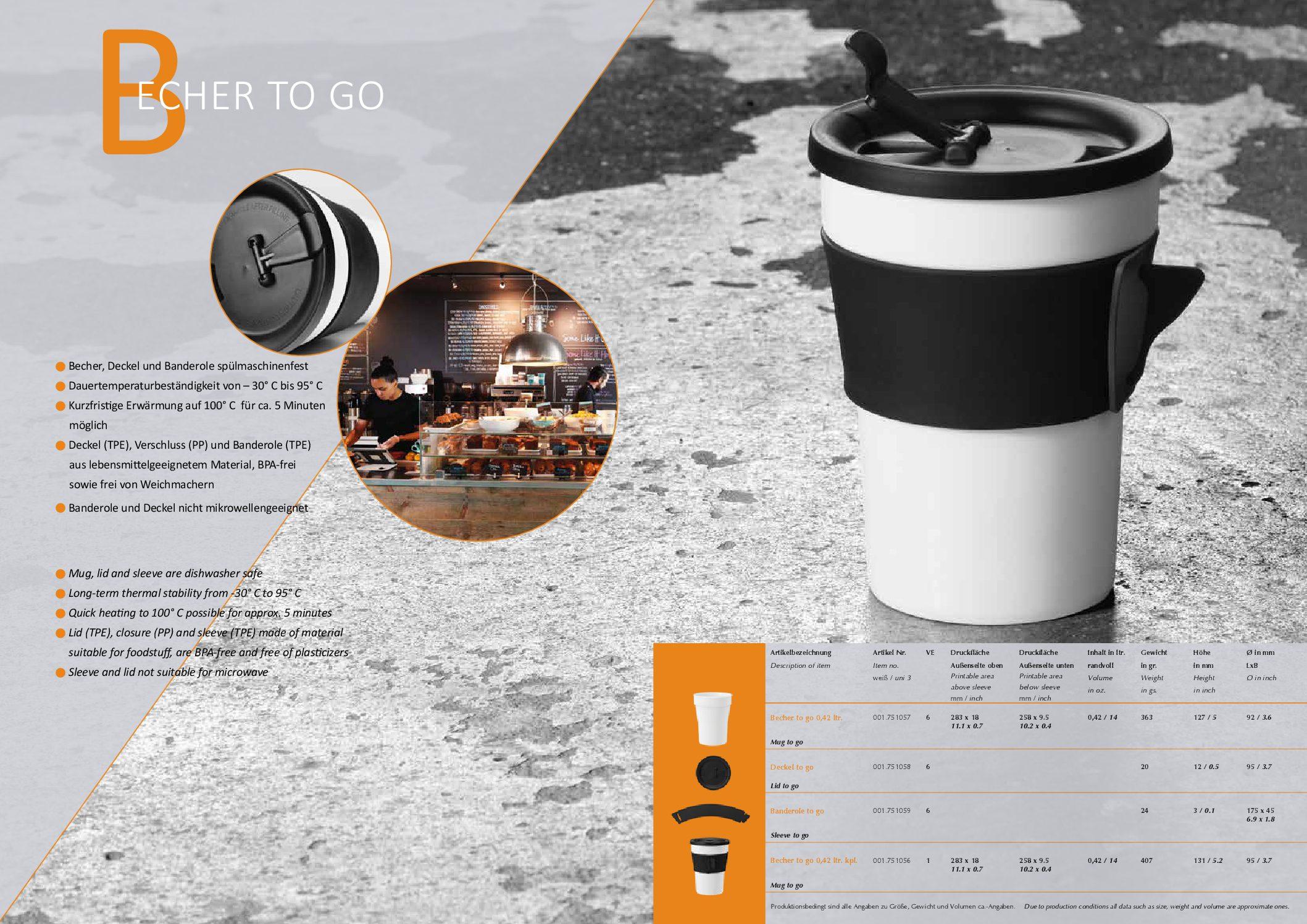 Porzellanbecher ToGo mit Banderole und Deckel Artikel PDF