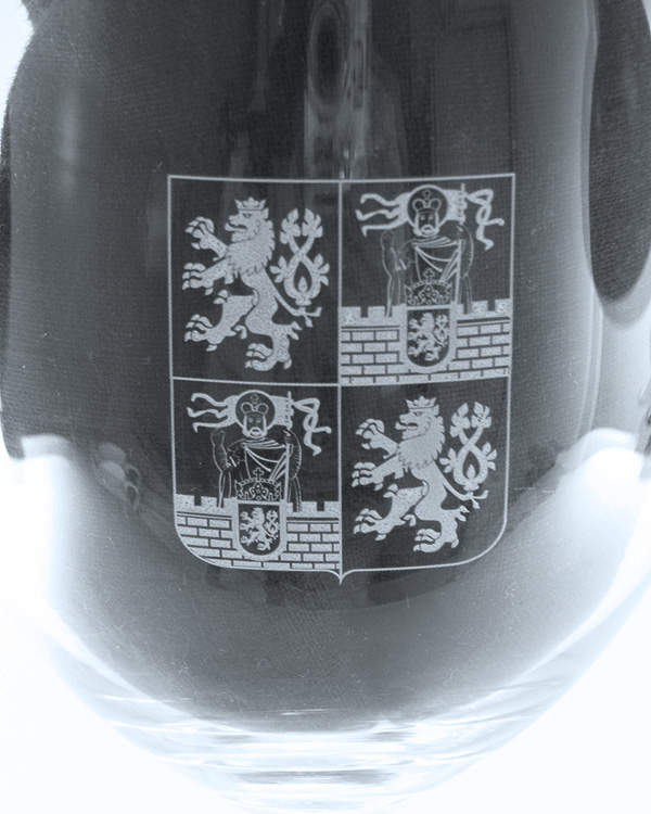 Direktdruck feines Wappen auf Weinglas gross
