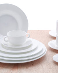 Obertassen Teller stapelbar Fine Bone China