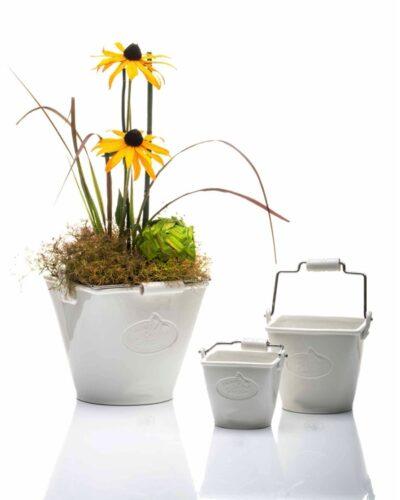 Eimer mit Henkel - Tischeimer - Kübel - Bucket - Porzellan