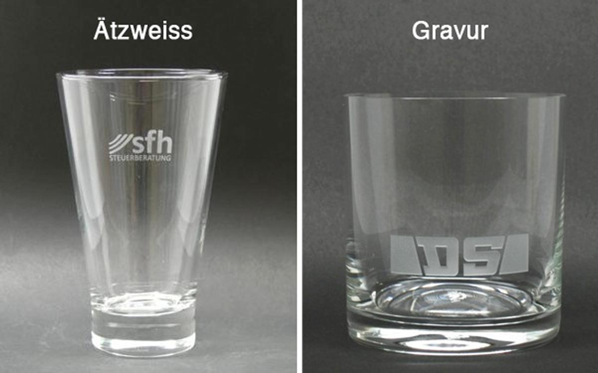 Vergleich Ätzweissdruck mit Sandstrahlgravur