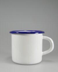 Emaillebecher 8x8cm blauer Trinkrand runder Henkel ohne Loch
