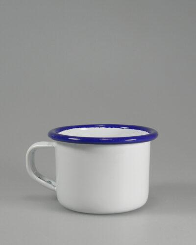 kleine Emailletasse 5cm blauer Trinkrand flacher Henkel