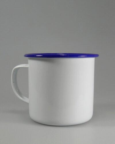 Emailletasse 8cm blauer Trinkrand