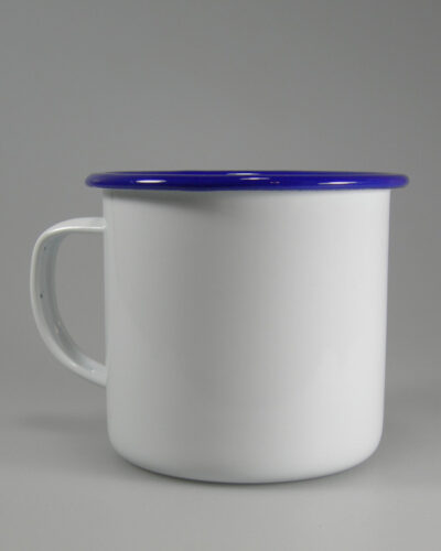 Emailletasse 8cm blauer Trinkrand flacher Henkel