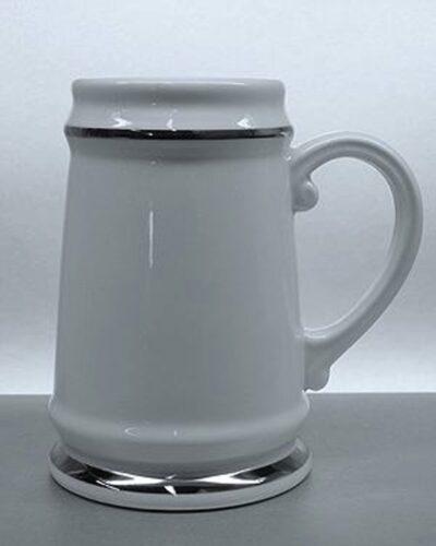 Porzellankrug mit Silberlinie Burgherrren